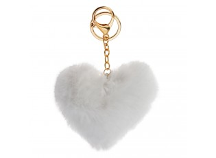 Přívěsek na klíče chlupaté bílé srdce - 10*9cm