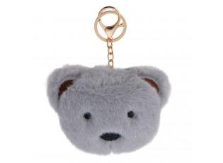 Přívěšek na klíče šedý chlupatý medvídek