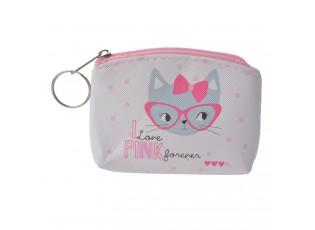 Malá peněženka s malovanou kočičkou na zip.