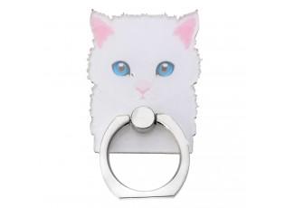 Prsten na mobilní telefon Bílá kočka