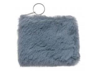 Malá šedá peněženka s delším chlupem, se zapínáním na zip.