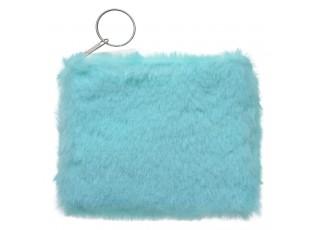 Mintová peněženka s chlupem - 12*9 cm