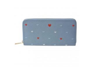 Krásná modrá peněženka se srdíčky.