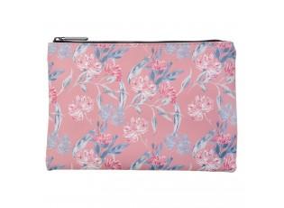 Růžová toaletní taška s květy Roseflow - 21*15 cm