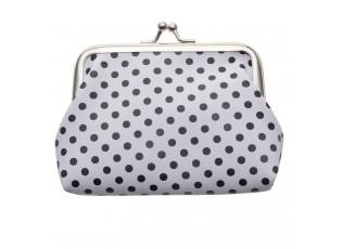 Bílá peněženka s černými puntíky - 8*12 cm