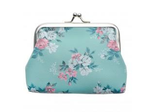 Tyrkysová peněženka s květy Roseflow - 12*8 cm