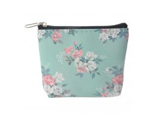 Tyrkysová peněženka s květy Roseflow - 10*8 cm