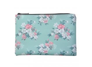 Tyrkysová toaletní taška s květy Roseflow - 21*15 cm