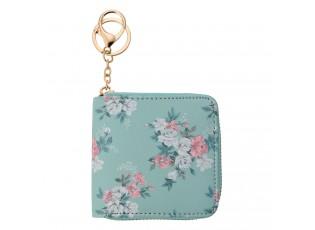 Tyrkysová peněženka s květy Roseflow - 10*10 cm