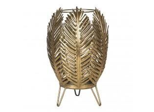 Zlatá kovová lucerna s listy – Ø 21*30 cm