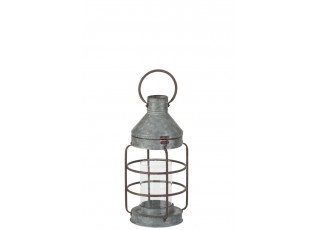 Plechová retro lucerna pozink - Ø 21*40 cm