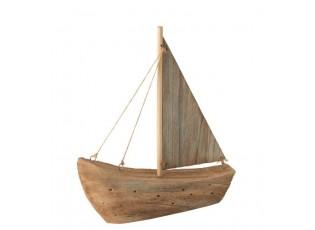 Dekorace přírodní dřevěná loďka - 23*5,5*27 cm