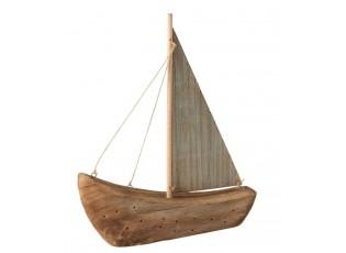 Dekorace přírodní dřevěná loďka - 28*6*35 cm