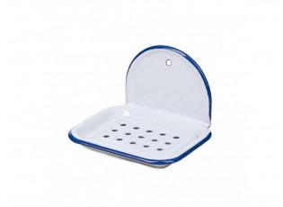 Bílá smaltovaná nástěnná mýdlenka s modrou linkou White blue - 13*10*9cm