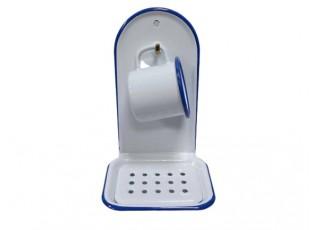 Bílá smaltovaná nástěnná mýdlenka s modrou linkou White blue - 13*10*21cm
