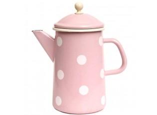 Růžová smaltovaná konvička s puntíky Pink dot - Ø12*23cm - 1,6L