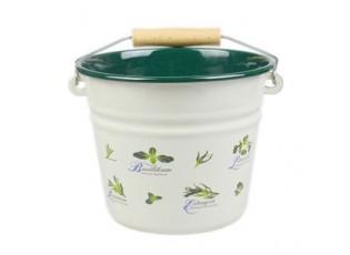 Krémový smaltovaný kyblík s bylinkami Herbs - Ø16*14cm - 1.5L