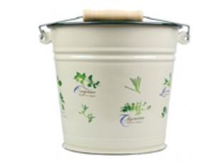 Krémový smaltovaný kyblík s bylinkami Herbs - Ø24*23cm - 6L