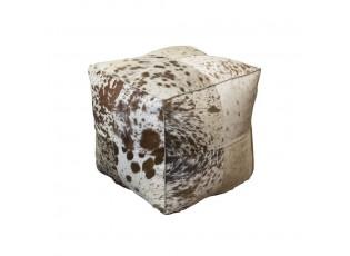 Čtvercový puf z kravské kůže hnědá/bílá - 40*40*40 cm