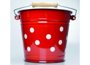 Červený smaltovaný kyblík s puntíky Red dot - Ø24*23cm - 6L