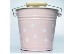 Růžový smaltovaný kyblík s puntíky Pink dot - Ø24*23cm - 6L