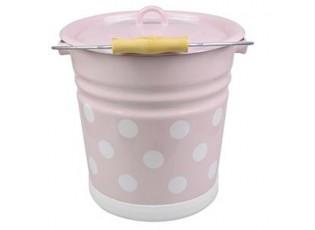 Růžový smaltovaný kyblík s puntíky a víkem Pink dot - Ø26*30cm - 12L