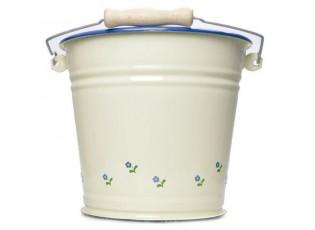 Krémový smaltovaný kyblík s květy Flowers - Ø24*23cm - 6L