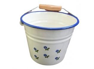Krémový smaltovaný kyblík s květy Flowers - Ø16*14cm - 1.5L