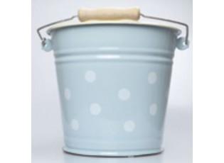 Modrý smaltovaný kyblík s puntíky Blue dot - Ø24*23cm - 6L