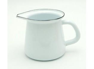 Bílá smaltovaná mlékovka Blue line -11,5cm - 0.4L