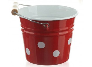 Červený smaltovaný kyblík s puntíky Red dot - Ø16*14cm - 1.5L