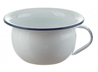 Bílá smaltovaná mísa s uchem - Ø 18*10cm - 1L