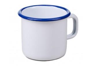 Bílý smaltovaný hrnek White blue - Ø8*8cm - 250ml