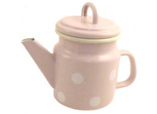 Růžová smaltovaná konvička s puntíky Pink dot  - Ø 12*17cm - 1L