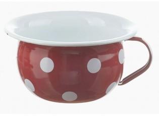 Červená smaltovaná mísa s uchem a puntíky Red dot - Ø 18*10cm - 1L