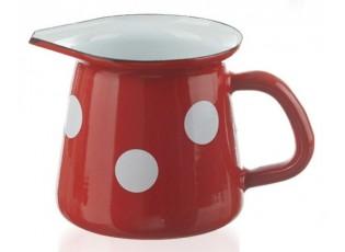 Červená smaltovaná mlékovka s puntíky Red dot -11,5cm - 0.4L
