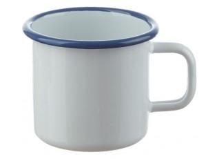 Bílý smaltovaný hrnek White blue - Ø7*7cm - 200ml
