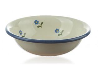 Krémová smaltovaná miska s květy Flowers - Ø 14*4cm