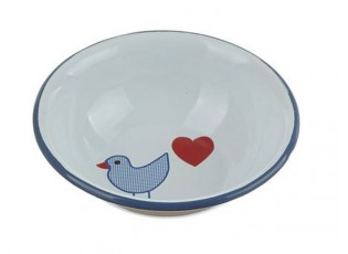 Bílá smaltovaná miska s ptáčkem Vogel - Ø 14*4cm