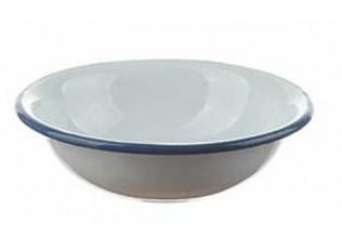 Bílá smaltovaná miska s modrou linkou White blue - Ø 14*4cm