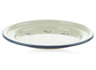 Krémový smaltovaný dezertní talířek s květy Flowers - Ø 18cm