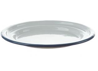 Bílý smaltovaný dezertní talířek s modrou linkou White blue - Ø 18cm
