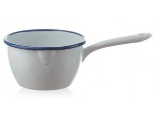 Bílý smaltovaný rendlík White blue - Ø14*9cm - 1L