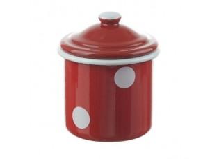 Červená smaltovaná dóza s puntíky Red dot -Ø8*11cm - 0,3L