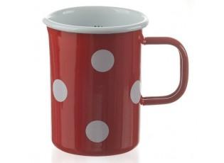 Červená smaltovaná odměrka s puntíky Red dot - Ø8*12cm - 0,5L