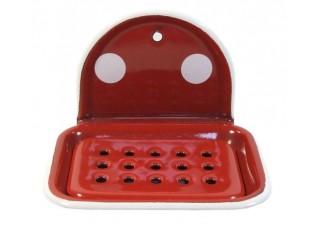 Červená smaltovaná mýdlenka s puntíky Red dot - 13*10*9cm
