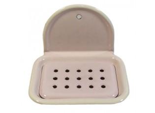 Růžová smaltovaná nástěnná mýdlenka Pink dot - 13*10cm