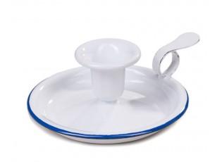 Bílý smaltovaný svícen White blue - Ø 13*6cm