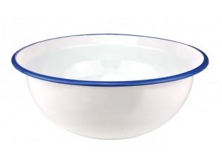 Bílá smaltovaná mísa s modrým okrajem - Ø 35,5*14cm
