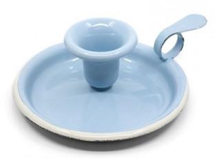 Modrý smaltovaný svícen Blue dot - Ø 13*6cm